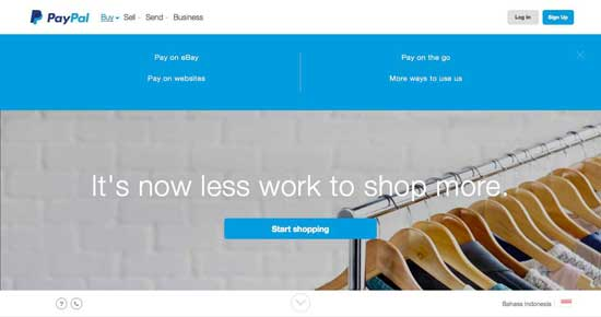 paypal website blue