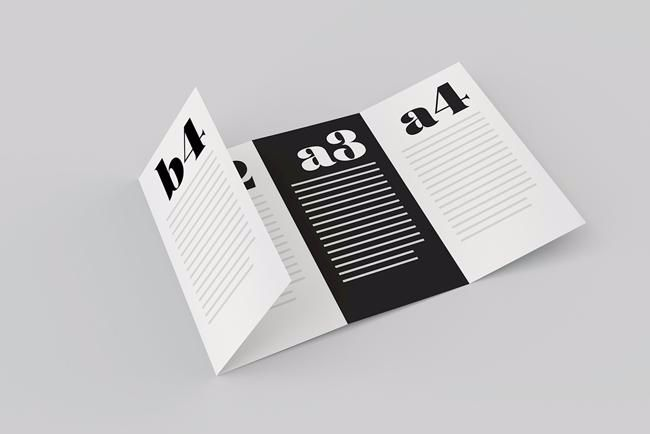 Four page folded brochure mockup