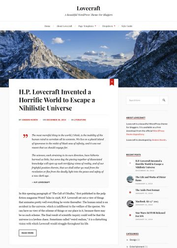 wordpress theme lovecraft