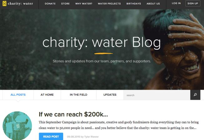 charity water blog page