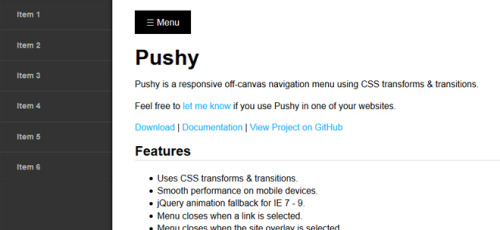 Pushy - Off-Canvas Navigation Menu