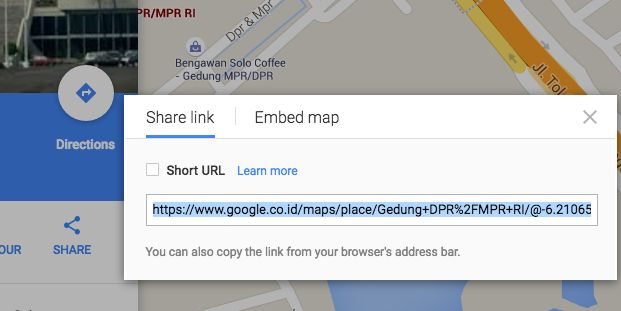 google maps share url