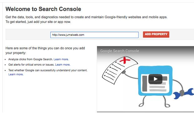 Google Webmaster Console 1