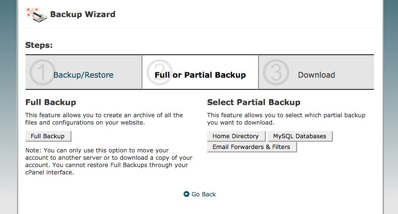 cpanel partial backup databases