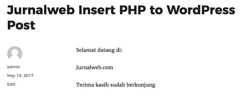 hasil insert php wordpress post
