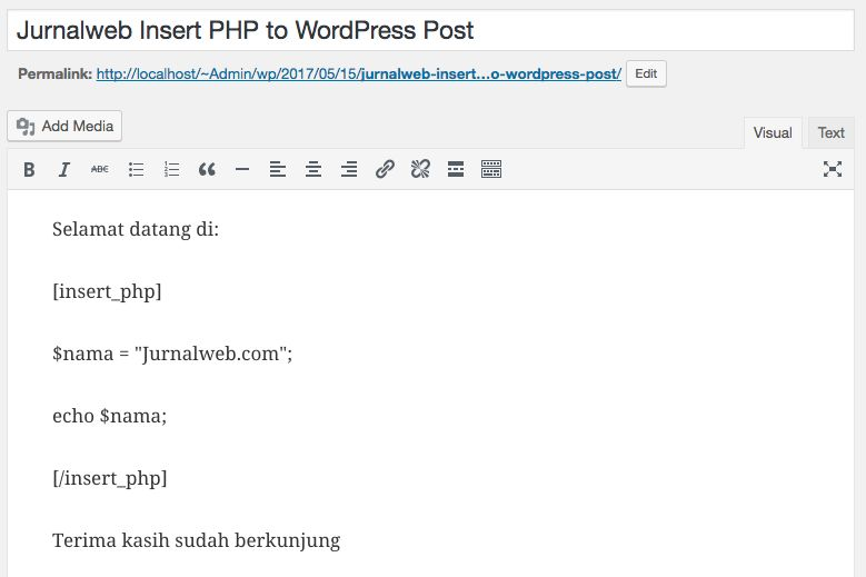 insert PHP code WordPress Post