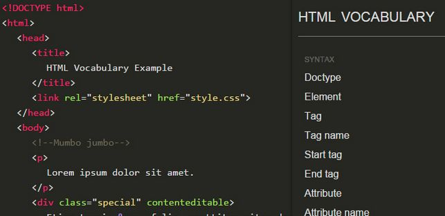 html vocabulary