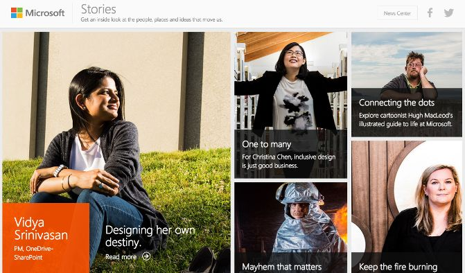 microsoft stories blog design