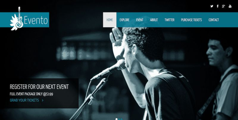 template bootstrap Evento