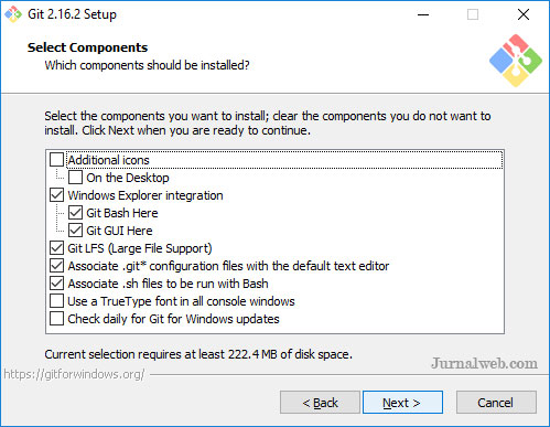 Menginstall Git di Windows - Memilih Komponen