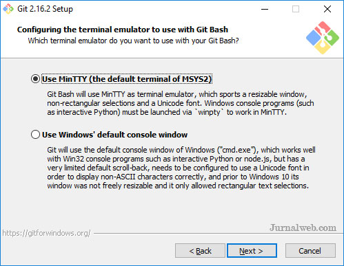 Menginstall Git di Windows - Memilih Terminal Emulator